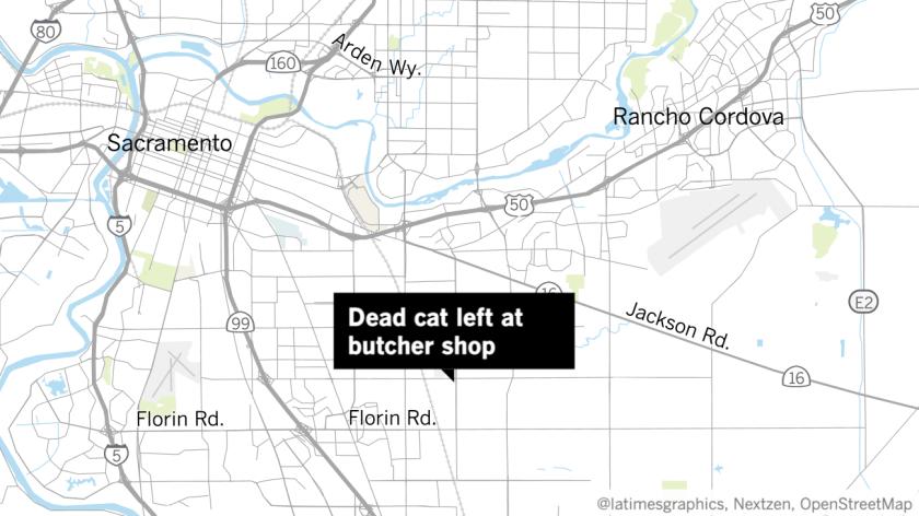 一男子將死貓屍體放在華裔家庭經營的肉製品公司店外,警方稱可能是仇恨犯罪。洛杉磯時報