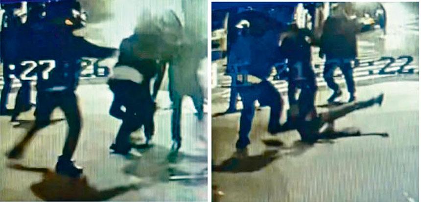 案發現場附近的監控視頻顯示了華男被刺鏡頭。