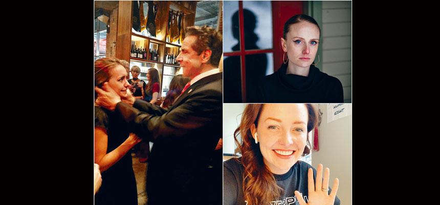 魯奇(左圖)稱柯謨曾在婚禮場合索吻。右圖上為貝內特、右圖下為博伊蘭。網上圖片、Elizabeth Frantz/紐約時報