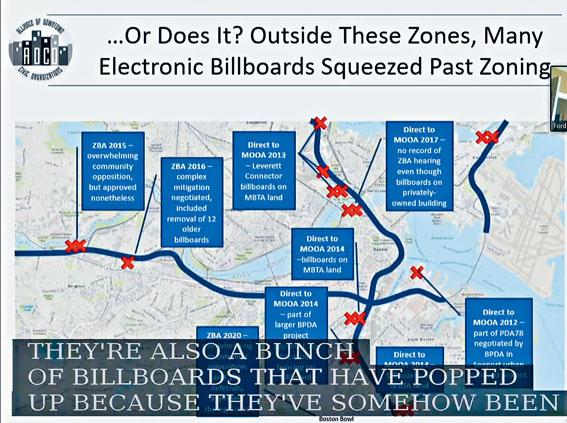 聽證代表在介紹波士頓市電子廣告牌過度擴散及其影響。溫友平攝