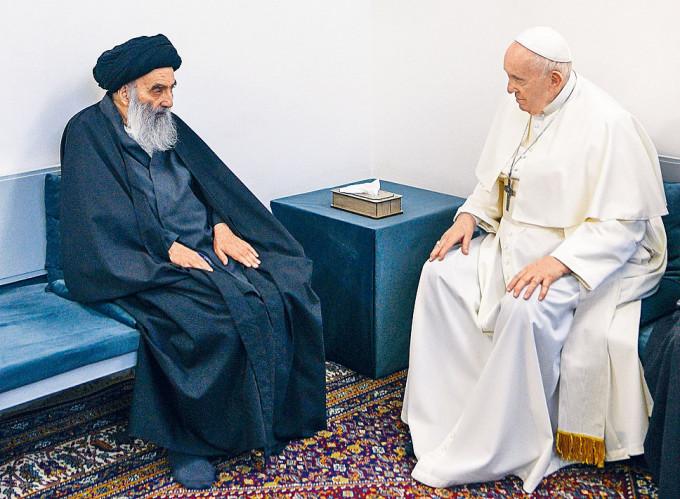 教宗方濟各在伊拉克聖城納杰夫,會晤什葉派最高領袖西斯塔尼。