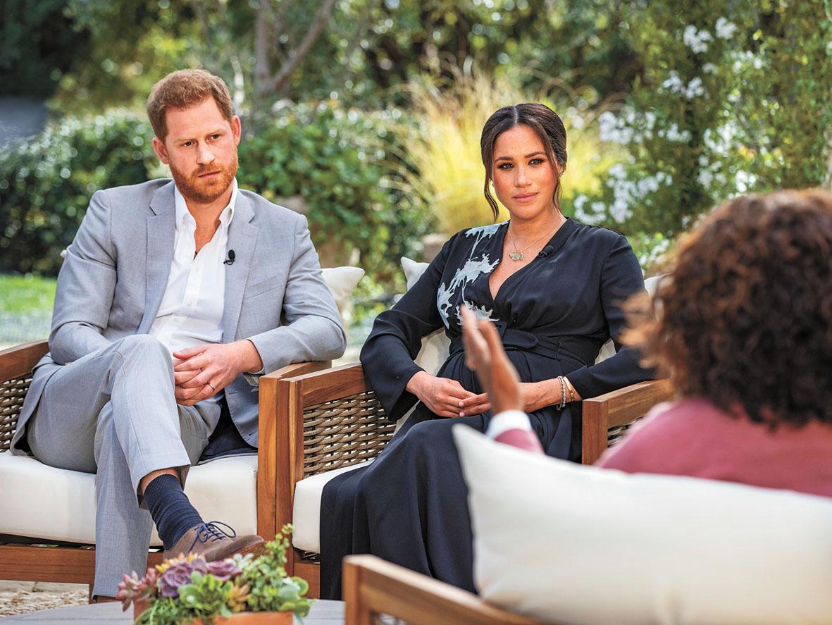 哈里王子和梅根與奧普拉對話。美聯社