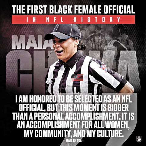 瑪雅.查卡成為了NFL第一位非裔女性裁判的海報。網上圖片
