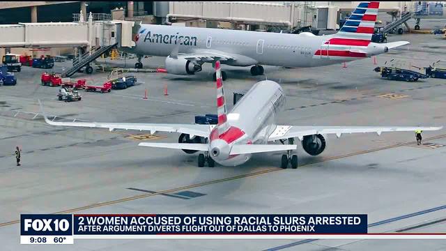 ■在一架從達拉斯飛往洛杉磯的美國航空766航班上,兩名女乘客涉嫌向一名男乘客種族辱罵,並向調停的人吐口水,航班被迫轉飛往亞利桑那州鳳凰城降落,兩人被捕。電視屏幕截圖