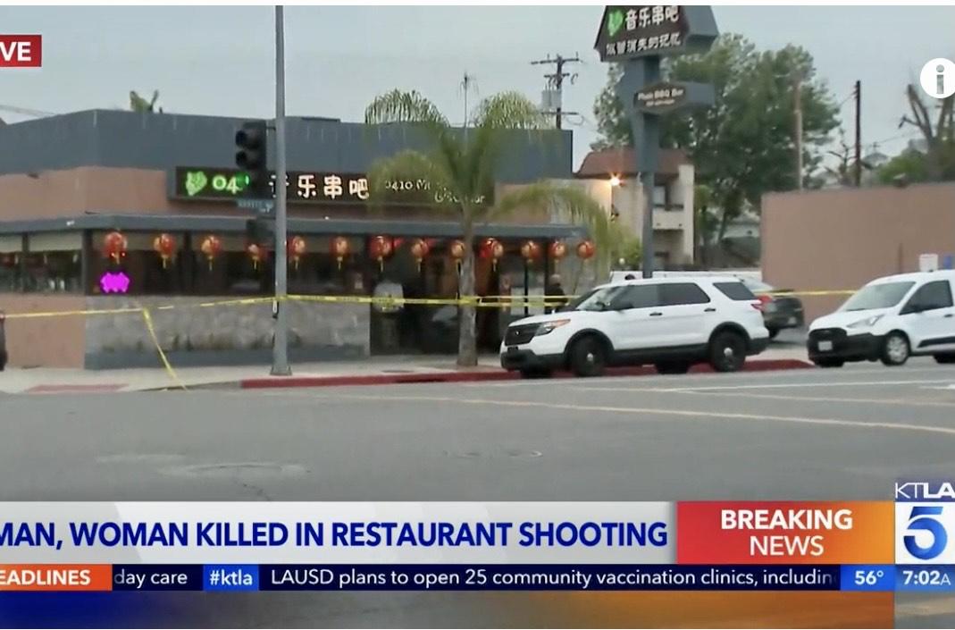 蒙市「音樂串吧」燒烤餐廳槍殺命案現場。KTLA視頻截屏