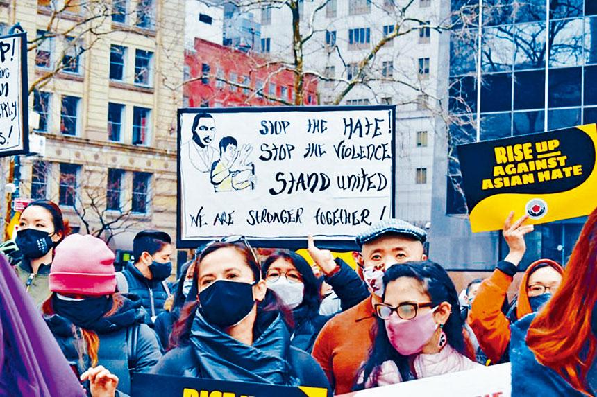 亞美聯盟曾多次舉辦及參與反亞裔仇恨犯罪示威。資料圖片