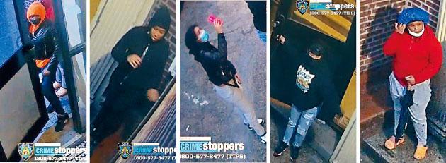 五名少女被監控拍下通過防火梯入室盜竊。
