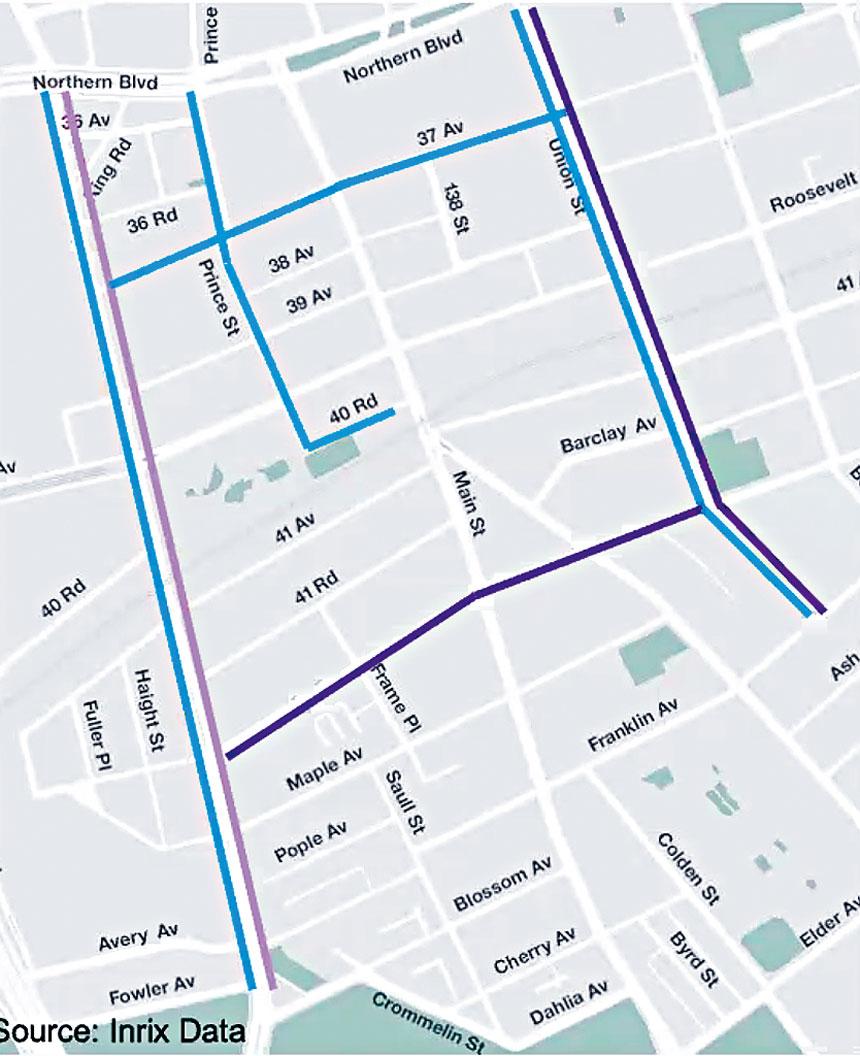 交通局把去年10月和今年2月的晚高峰情況相比,藍色路段表示汽車行駛時間的差距在5秒之內,淺紫色表示變慢5至10秒,深紫色表示變慢10至15秒。