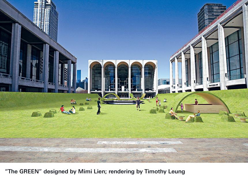 林肯中心廣場將被改造成草坪設計圖。