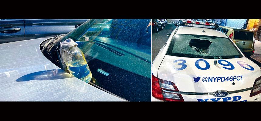 左圖:布碌崙發生警車被擲汽油彈;右圖:警車玻璃窗被砸穿。推特圖片