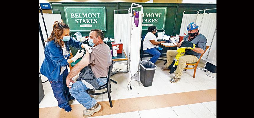 紐約市目前有近200萬居民已經完全接種。美聯社