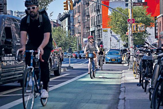 上月「Citi Bike」使用量較去年同期大增四成。Christopher Lee/紐約時報