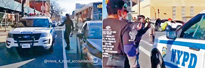 從視頻可見,多名男子包圍警車進行辱罵。推特圖片