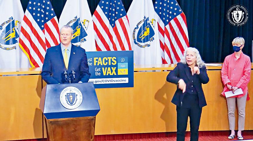 麻州州長查理•貝克(CharlieBaker)在4月27日新冠疫情發布會上作簡報。麻州政府官網截圖