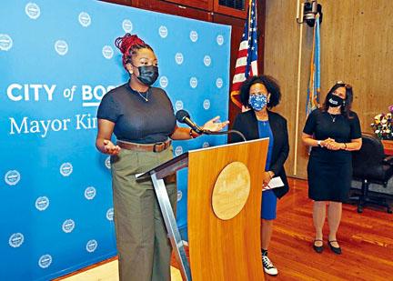 Xyra Mercer在波士頓市政廳舉行宣誓就職典禮。波士頓市政府供圖