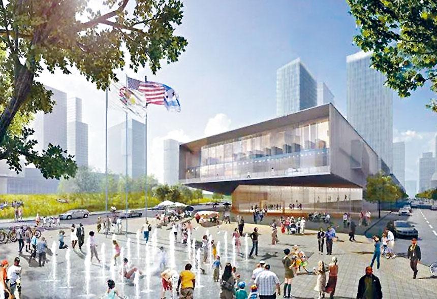 奧巴馬總統中心將落戶在芝加哥南區的傑克遜公園。圖為中心的設計圖。