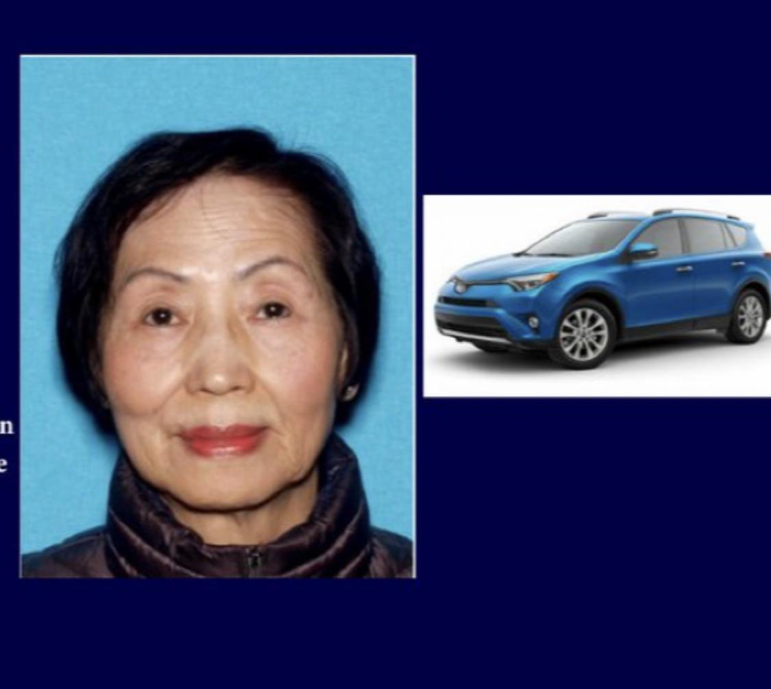 奇諾崗74歲老婦阮茉莉(Molly Lai Ching Ng,音譯)失蹤,駕駛一輛藍色豐田RAV4休旅車。聖伯納丁諾警局