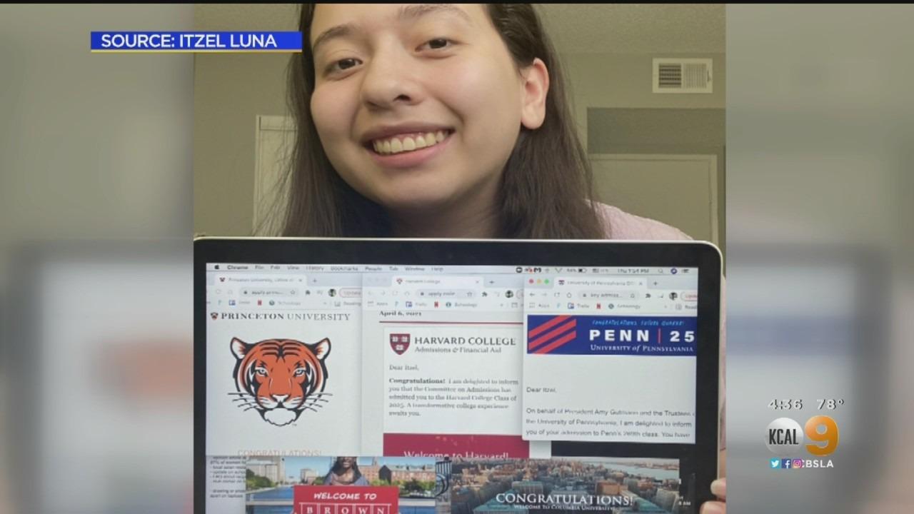 女高中生Itzel Luna被五所常春藤名校和斯坦福大學錄取。CBSLA