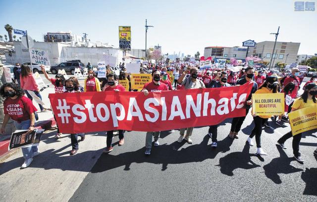 今年3月在韓國城「停止亞裔仇恨」遊行現場。洛杉磯時報