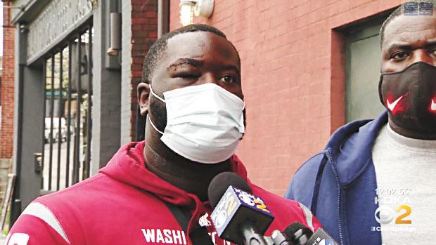 斯普里格斯(DeVincent Spriggs)誤指洛杉磯公羊隊球星阿隆-唐納德對其進行暴力毆打。KDKA-TV新聞畫面