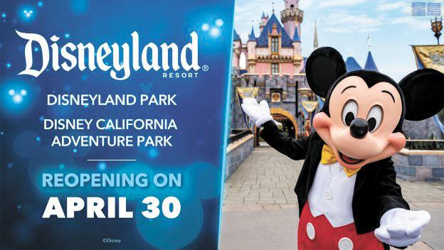 南加州迪士尼樂園宣布4月30日將重新開放。Disneyland臉書