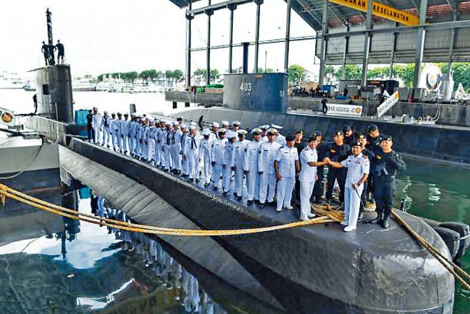 印尼潛艇KRI Nanggala號二〇一九年攝於泗水海軍基地。