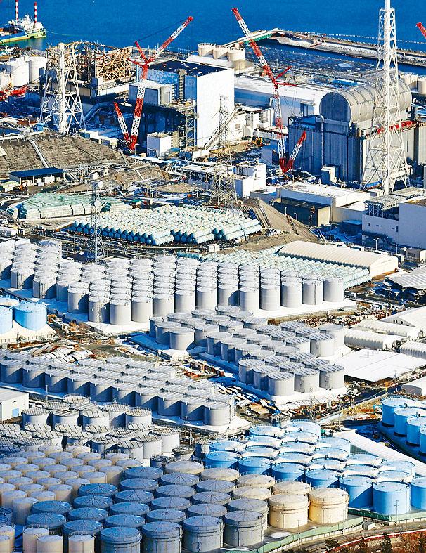 日本福島第一核電廠的核廢水儲水罐。