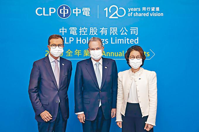 中電首席執行官藍凌志(中)表示,碳中和目標技術上可行,但時間較緊逼。