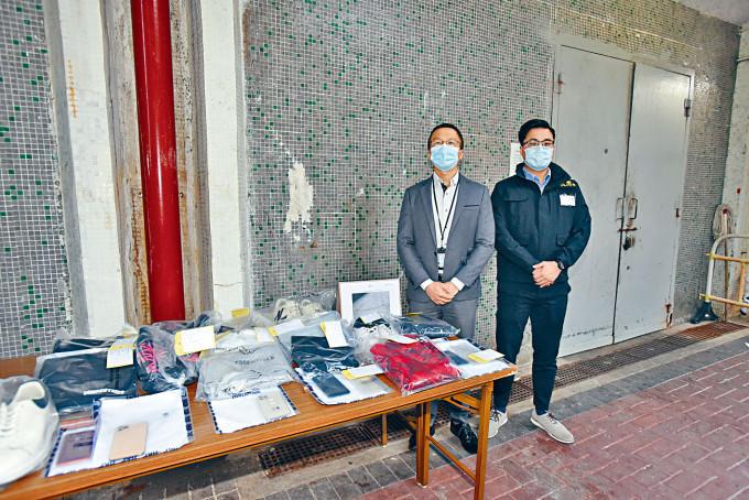 警方展示搜獲的證物。