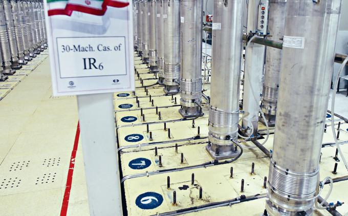 伊朗納坦茲核設施內生產濃縮鈾的IR-6型離心機。