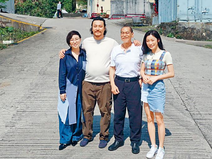 (左起)楊詩敏、張建聲、陳觀泰及楊柳青齊出席新劇拜神儀式。