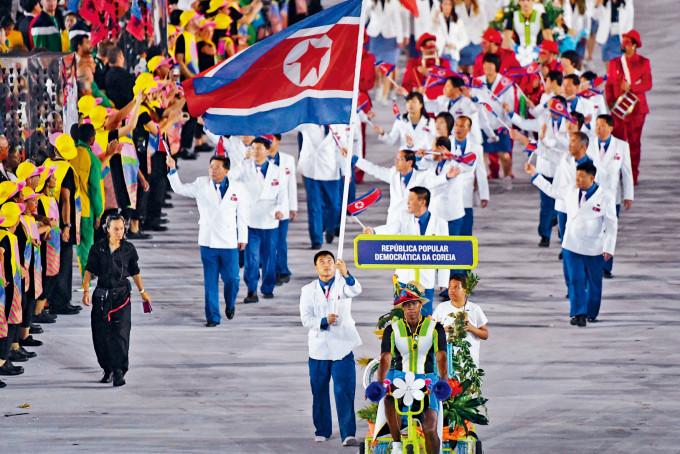 二〇一六年里約奧運開幕禮,北韓代表隊進場。