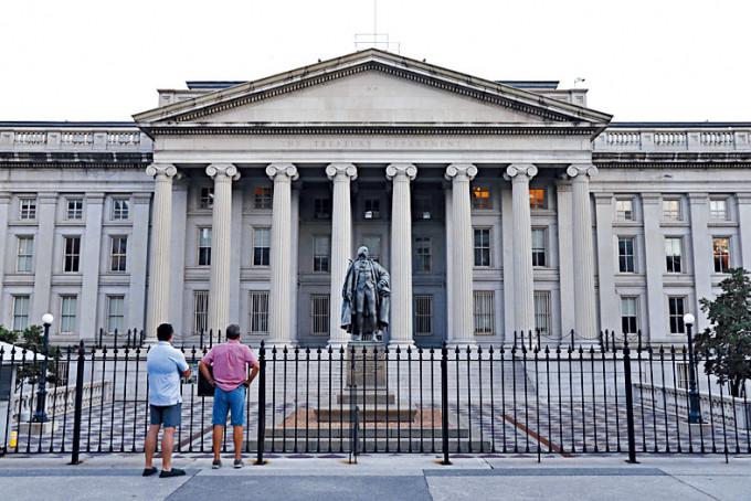 林嘉文表示,美債息於今年首季已升逾80基點,料美債息再上升的空間不大。圖為美國財政部。