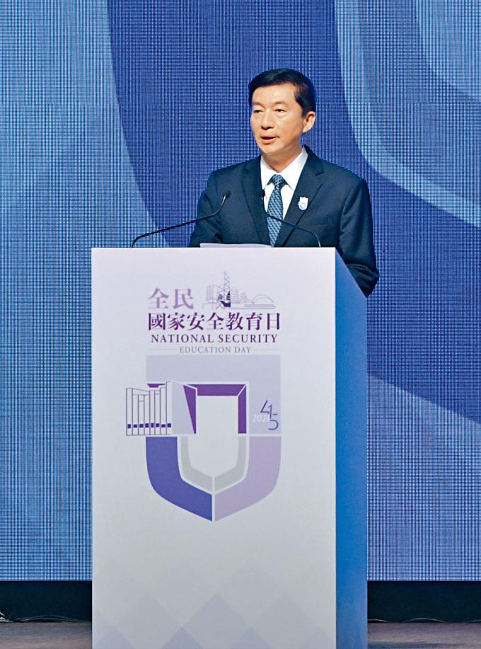 中聯辦主任兼國安委國家安全事務顧問駱惠寧,昨出席教育日開幕典禮時致辭。