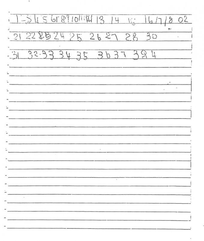 五歲女童生前曾寫的數目字。
