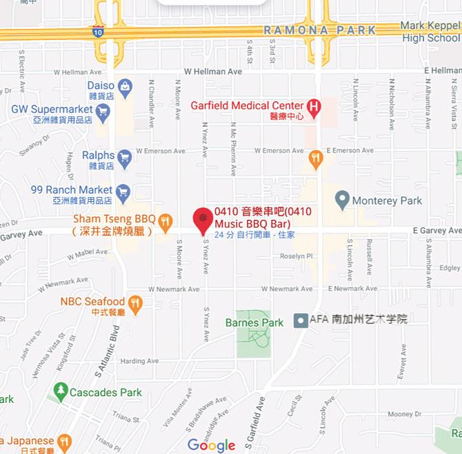 「0410 音樂串吧」所在位置。Google地圖