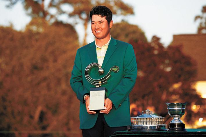 松山英樹成為亞洲首位奪得美國大師賽冠軍的男選手。美聯社