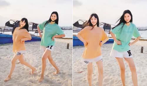 李小璐與閨蜜在沙灘上跳 舞。 網上圖片