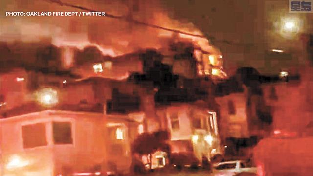 屋崙消防局推特上發出火場視頻。屋崙消防局