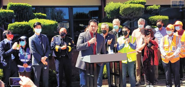 聖馬刁縣縣參事會主席卡尼帕(David J. Canepa)表示,聖馬刁縣決不會容忍任何仇視犯罪。記者李兆庭攝