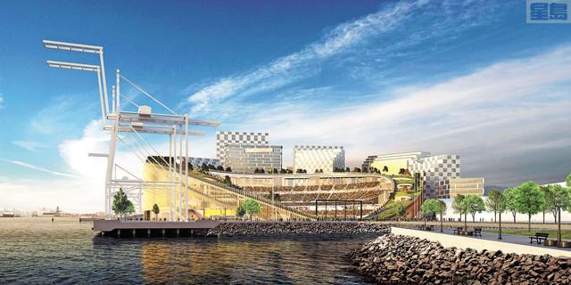 霍華德貨櫃碼頭新建棒球場的效果圖。球隊提供