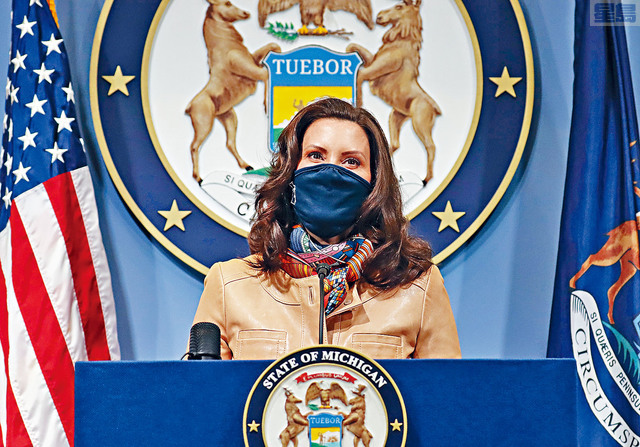 數據顯示,密歇根州上周已新增超過10萬宗病例,是自11月中旬以來的最高數字。但州長惠特默表示,她不會下達新的命令來遏制疫情爆發。    美聯社