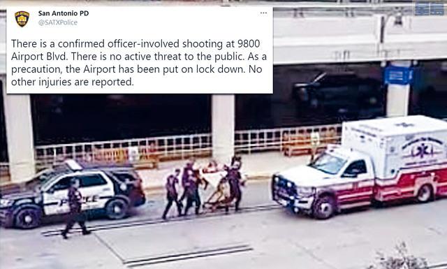 ■聖安東尼奧國際機場發生開槍案,一名男子帶同手槍試圖闖入機場,與警員駁火,中槍身亡。當局相信事件不涉及恐怖活動,機場一度需要關閉。    網上圖片