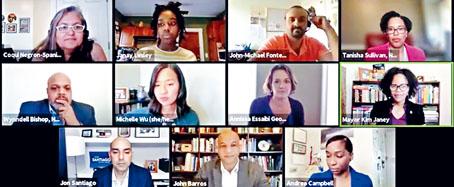 六位波士頓市長候選人在種族正義主題論壇上發言。溫友平攝影