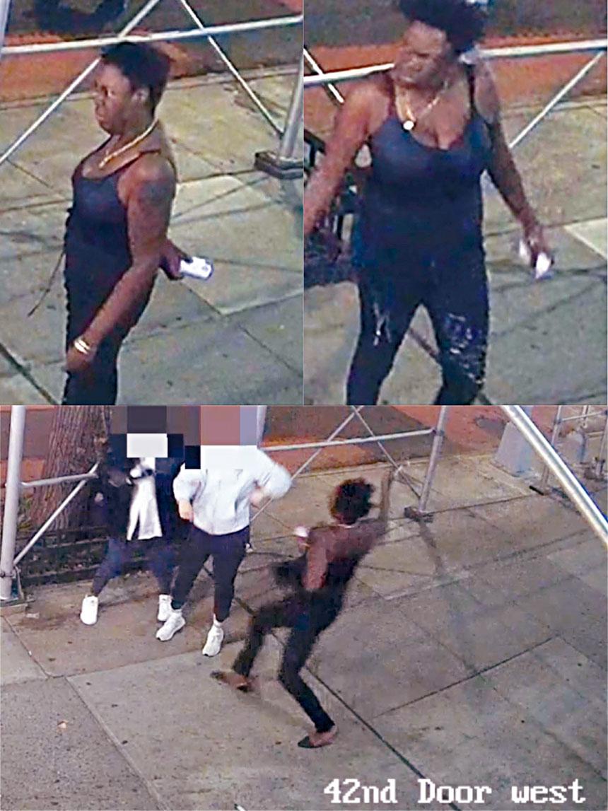 圖為華女捶頭案涉案女嫌(上)及其施暴時的場景(下)。 圖源:NYPD