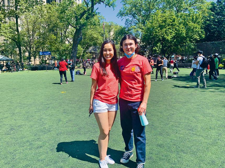 華裔青年陳曉梅(Michelle Tran)和日裔青年瓊斯健二(Kenji Jones)聯手舉辦關懷亞裔活動。