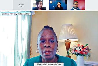 市長夫人麥克雷等舉辦少數族裔媒體圓桌會。視頻截圖