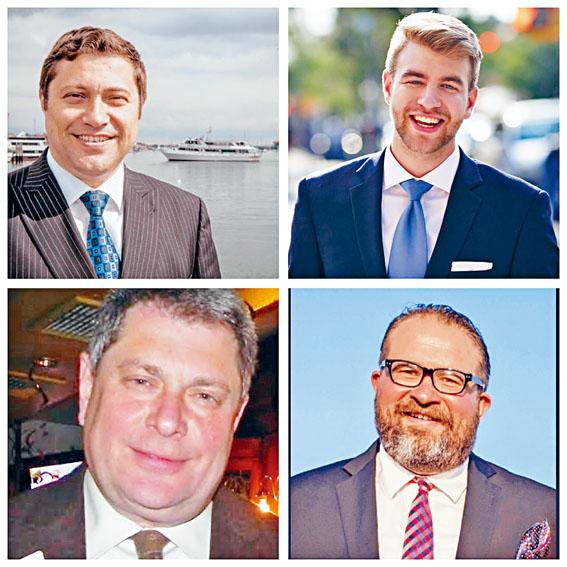 其中4名參選人民主黨的李凱健(左上),史帝文(右上),布魯克卡蘭斯尼(左下)和共和黨籍的蘇斯基維。