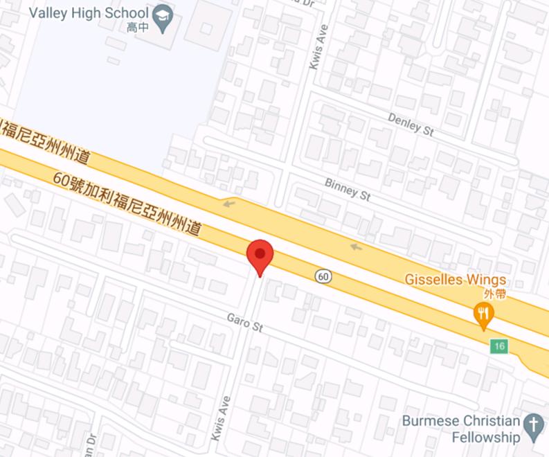 發生入室盜竊案和持槍搶劫案的哈崗Kwis大道和Garo街。Google地圖
