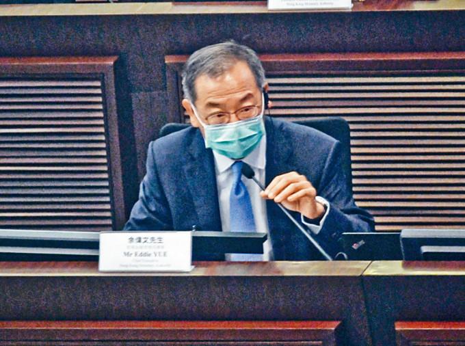 金管局總裁余偉文表示,外匯基金投資表現應放眼長。